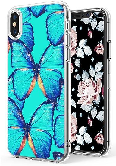 new concept c0edf e246d Butterflies Case for iPhone Xs/iPhone X,Ecute Soft Slim Flexible Clear  Style Hard Back Covers Cases for iPhone Xs (2018)/for iPhone X (2017) -  Blue ...