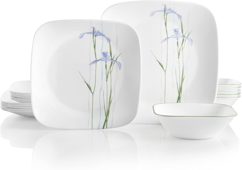 Corelle Service for 6, Chip Resistant, Shadow Iris Dinnerware Set, 18-Piece