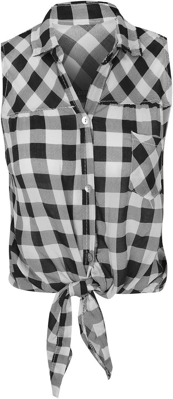 Heelberry - Camisa sin Mangas - Top Corto con Nudo - para Mujer - Cuadros: Amazon.es: Ropa y accesorios
