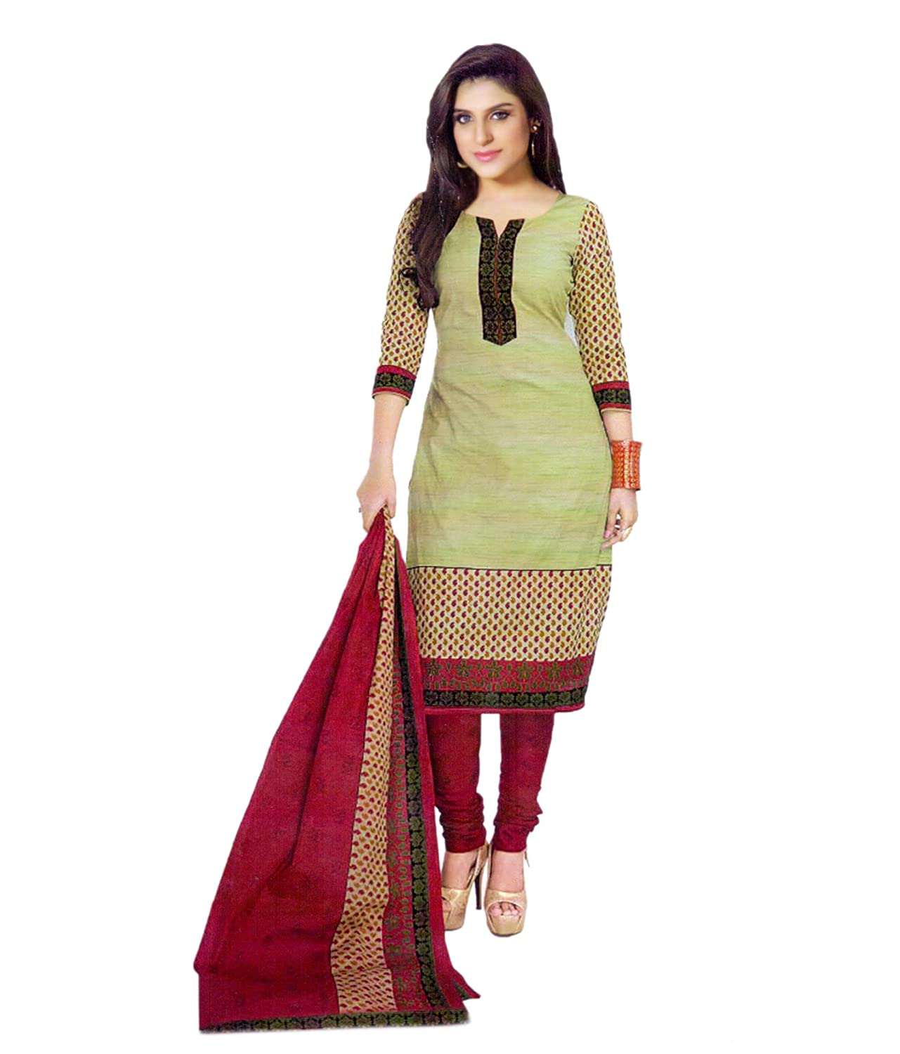 Buy Miraan Women's Cotton Salwar Suit Dress Material(SG3333_Green ...