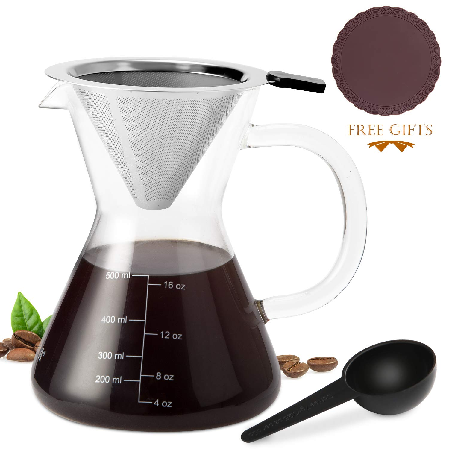 Secura Pour Over Coffee Dripper, 17 oz, Glass Coffeemaker with Stainless Steel Filter by Secura