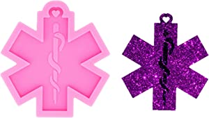 Glossy Shiny First Aid Life Star Medical Logo Keychain Silicone Mold with Hole for DIY Earrings Epoxy Craft Decoration Fondant Mold Crystal Trinket Luggage Tag Candy Pendant Desserts Necklace