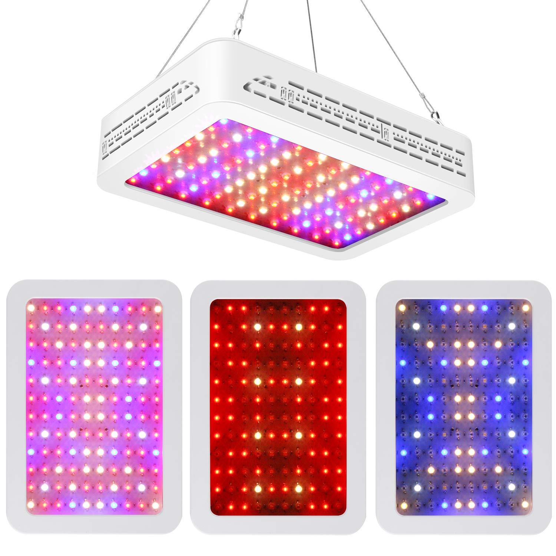 GTMAR 1200W LED Grow Light,Double Switch Full Spectrum LED Grow Light for Indoor Plants Veg and Flower