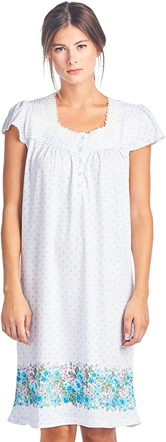 Casual Nights Women/'s Floral Lace Cap Sleeves Nightgown Sleep Dress
