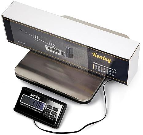 Kenley Paquete - Báscula digital hasta 150 kg/300 kg - Balanza digital Acero inoxidable plataforma Paquete de plataforma - Red/batería betreib Bar: ...