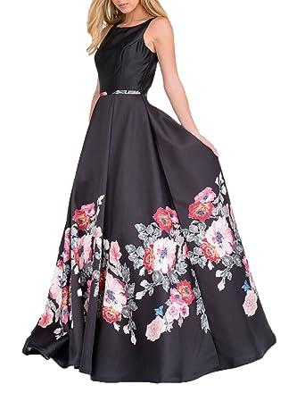 AngelCity Brides Womens Floral Sleeveless Prom Dress Print Flower Evening Formal Dress