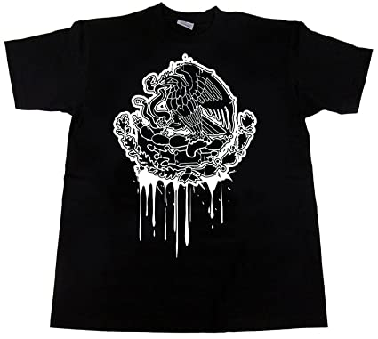 Amazon.com: CaliDesign Mexico Eagle Dripping Flag T Shirt Mexican ...