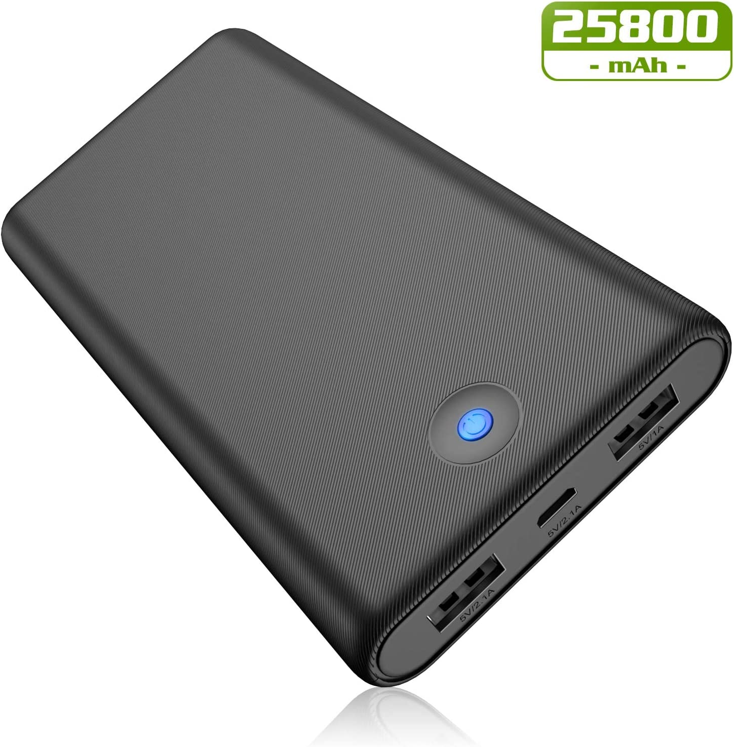 Portable Charger Power Bank [25800mAh Newest Version] Ultra Compact External Battery Pack with Colorful Indicator, 2 USB Ports Quick Charging Portable Phone Charger for iPhone Samsung Android Tablet