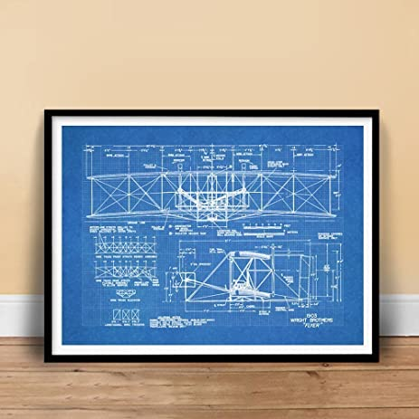 Amazon wright flyer first airplane 1903 blueprint art 18x24 wright flyer first airplane 1903 blueprint art 18x24 print poster brothers orville wilbur flying unframed malvernweather Gallery