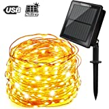 Tobbiheim Solar Lichterkette Super Lange Arbeitszeit mit USB Ladung Doppelladung 200 LED 22 Meter Kupferdraht 8 Modi Beleuchtung Wasserdicht IP65 für Garten, Terrase, Balkon - Warmweiß