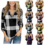 Women's Long Sleeve Plaid Print V Neck Henley Shirts Plus Size Casual Loose Blouse Tunic Tops S-5XL