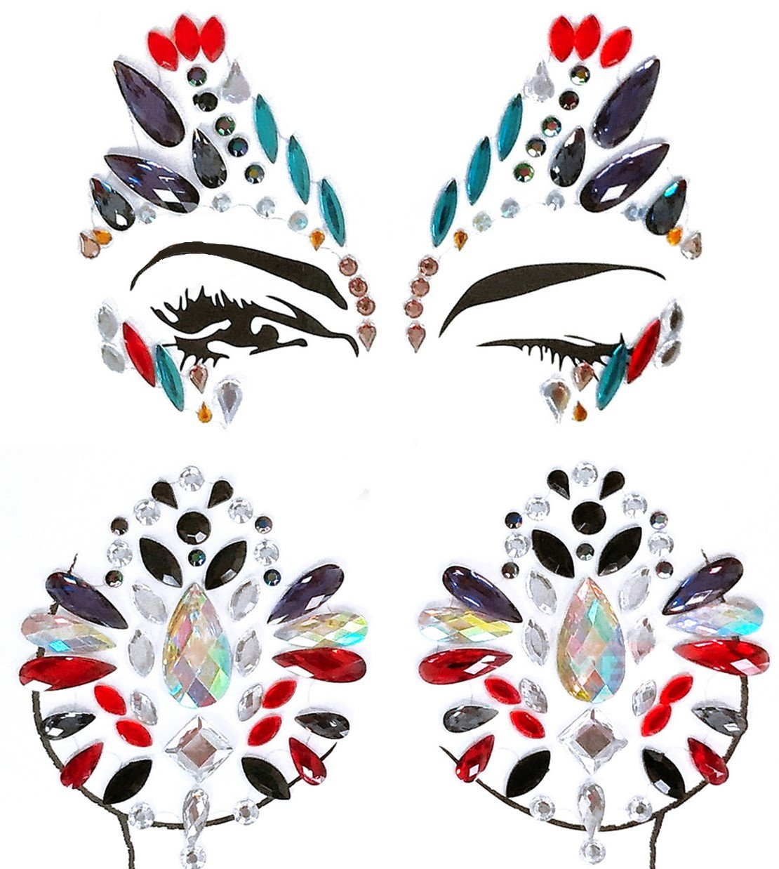 MineSign 8 Pack Face Jewels Festival Tattoo Set Face Gems Glitter Bindi Costume Makeup Rhinestone Eyes Body Rave Pasties for Party Roller (Mermaid Face Chest Kit) by MineSign (Image #5)