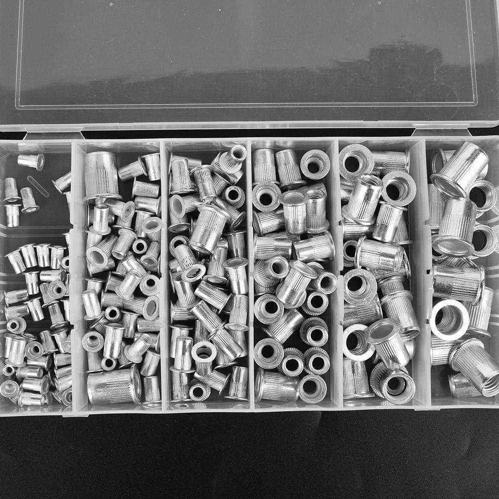 190 piezas Kit de tuercas de remache de aluminio tuercas de sujeci/ón roscadas de cabeza plana M3 M5 M6 M8 M10
