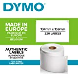 DYMO LW Extra Large Shipping Labels for LabelWriter 4XL Label Maker, 104mm x 159mm, Roll of 220, Black Print on White, Authentic
