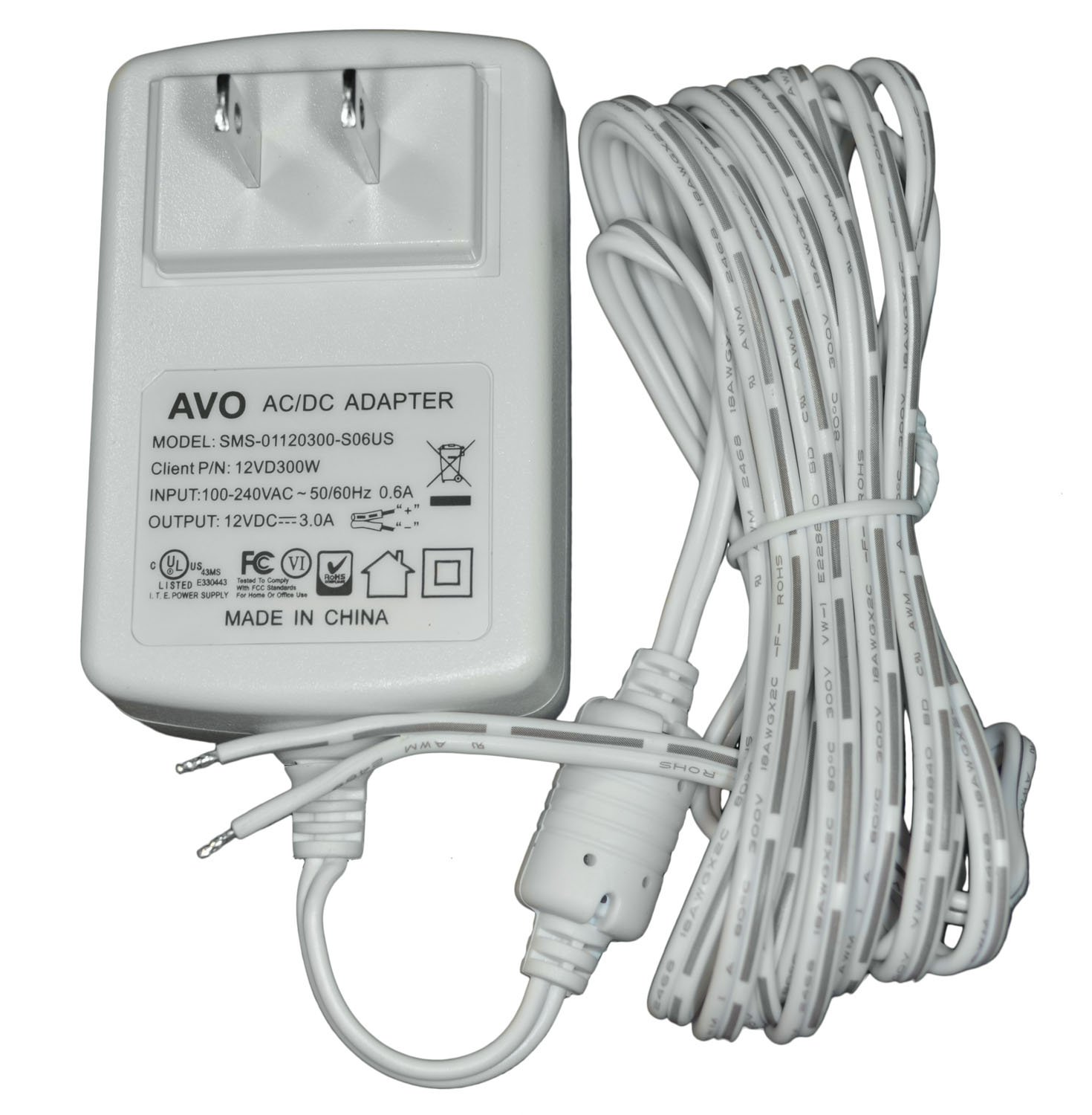 12V DC 3A White Wall Plug DC Adapter//Power Supply Non-Terminated 10 Foot Parallel Zip Cord Lead Wire Input: 100-240VAC 50//60Hz AVO 12VD300W