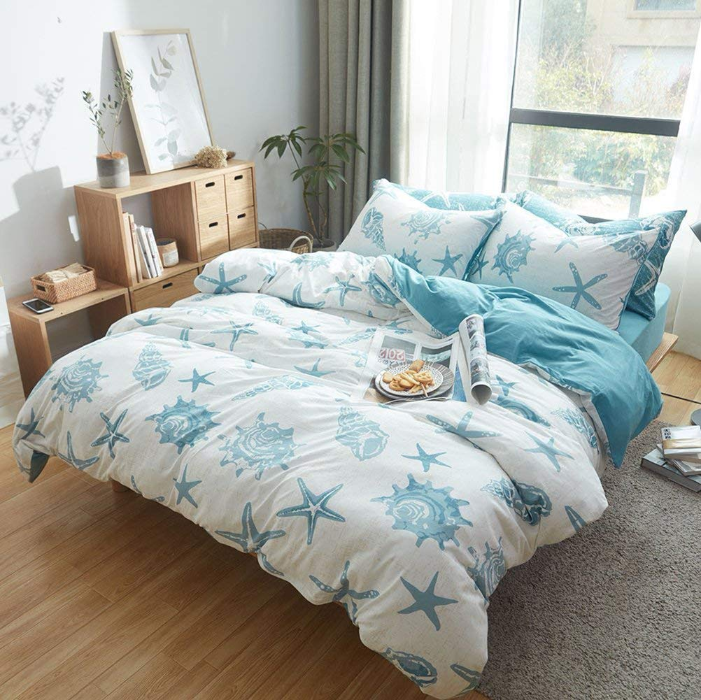 DOUH Jersey Knit Cotton Duvet Cover Queen Full Size White Blue Duvet Cover Set 3 Piece Bedding Set 1 Duvet Cover and 2 Pillow Shams,Simple Starfish Pattern Design