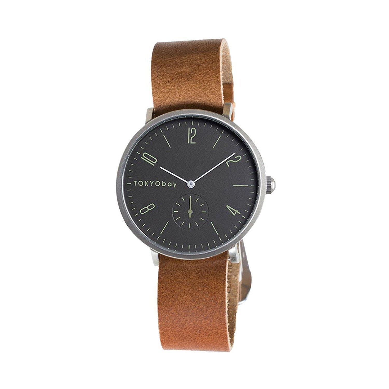 TokyoBay t388-br-BK Herren Edelstahl braun Leder Band Schwarz Zifferblatt Smart Watch