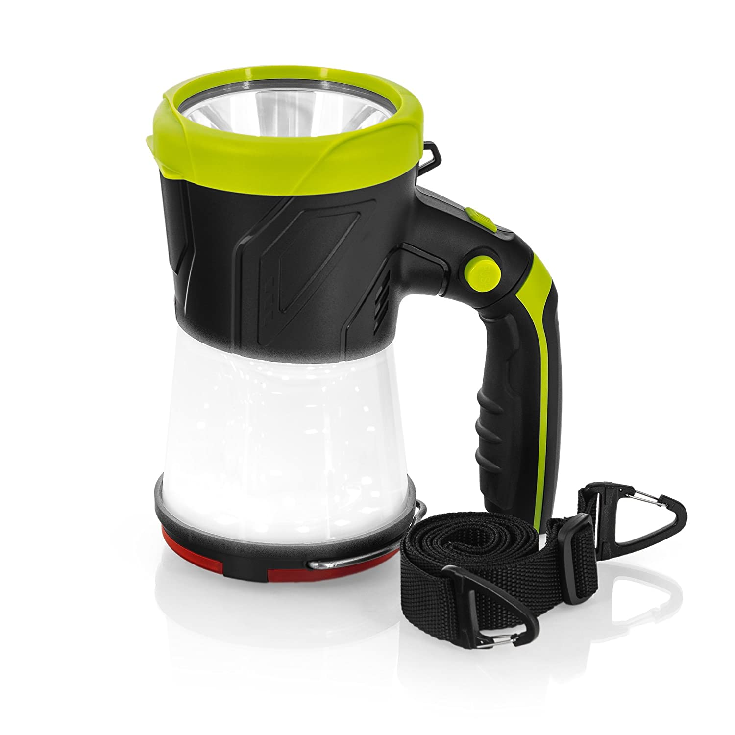 Great for hiking USB Charging Cord Included Rechargeable LED lantern Flashlight Super Bright 4 in 1 Portable LED Searchlight /& Torch Light Camping Gear Indoor-Outdoor Use Shoulder Strap Included SAMLITE FBA/_20277-SL