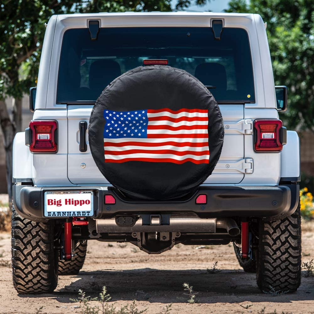SUV Big Hippo 17 inch Tire Cover Universal Fit for Trailer Truck and Many Vehicle Weatherproof Tire Protectors,PVC Leather Spare Tire Cover American Flag Wheel Covers RV