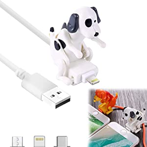 Funny Humping Dog Fast Charger Cable, Stray Dog Charging Cable, Dog Toy Smartphone USB Cable Charger, Suitable for Various Models of Mobile Phones (White,iPhone)