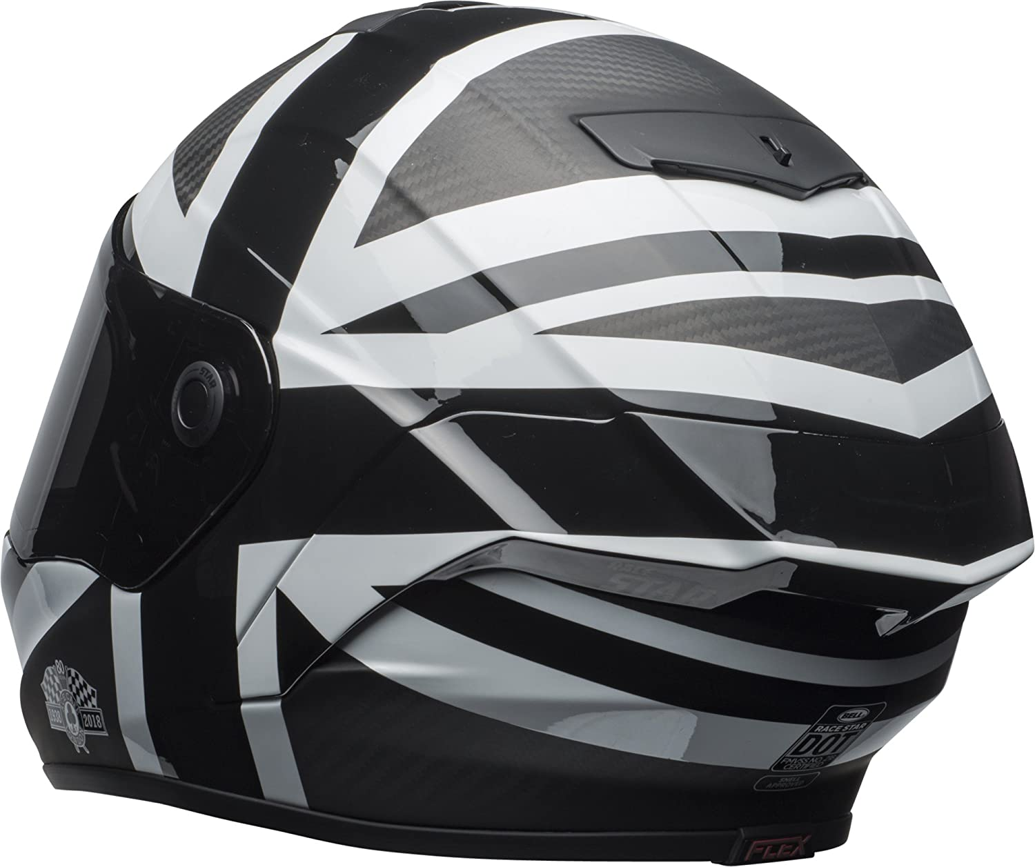 Amazon.com: Bell Race Star Full-Face Motorcycle Helmet (Ace Cafe Blackjack Matte Black/White, Large): Automotive