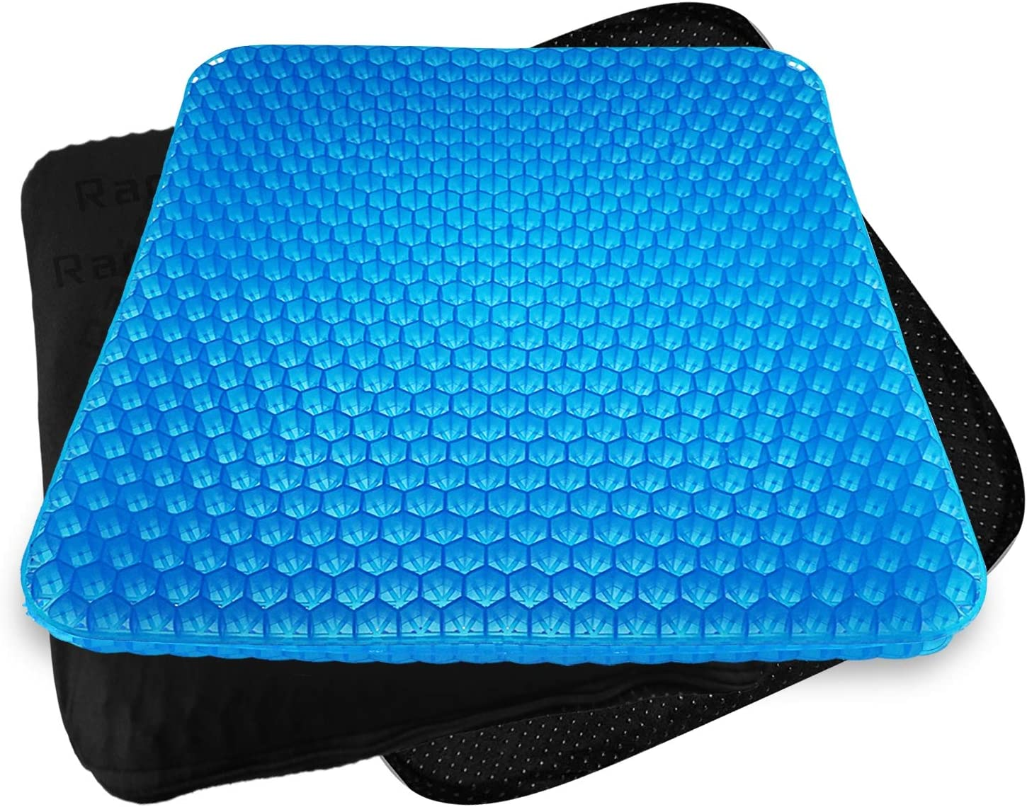 Rariro Extra-Large Gel Seat Cushion, Breathable Honeycomb Design Pain Relief Egg Seat Cushion, for Pressure Relief Back Tailbone Pain - Home Office Chair Cars Wheelchair (2 Non-Slip Cover)