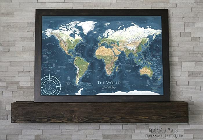 Amazon world pin board map voyager 2 world map large world pin board map voyager 2 world map large framed map gumiabroncs Image collections