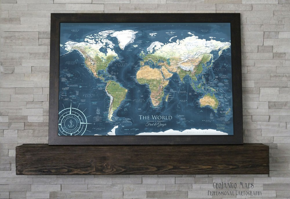 World Pin Board Map - Voyager 2 World Map - Large Framed Map