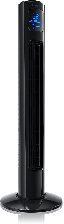 Brandson - Ventilador de Torre con Mando a Distancia - Oscillating Tower Fan - 45W - 3 Niveles de Temperatura - Temporizador - 3 Modos de Funcionamiento - Oscilación Ajustable a 60 Grado