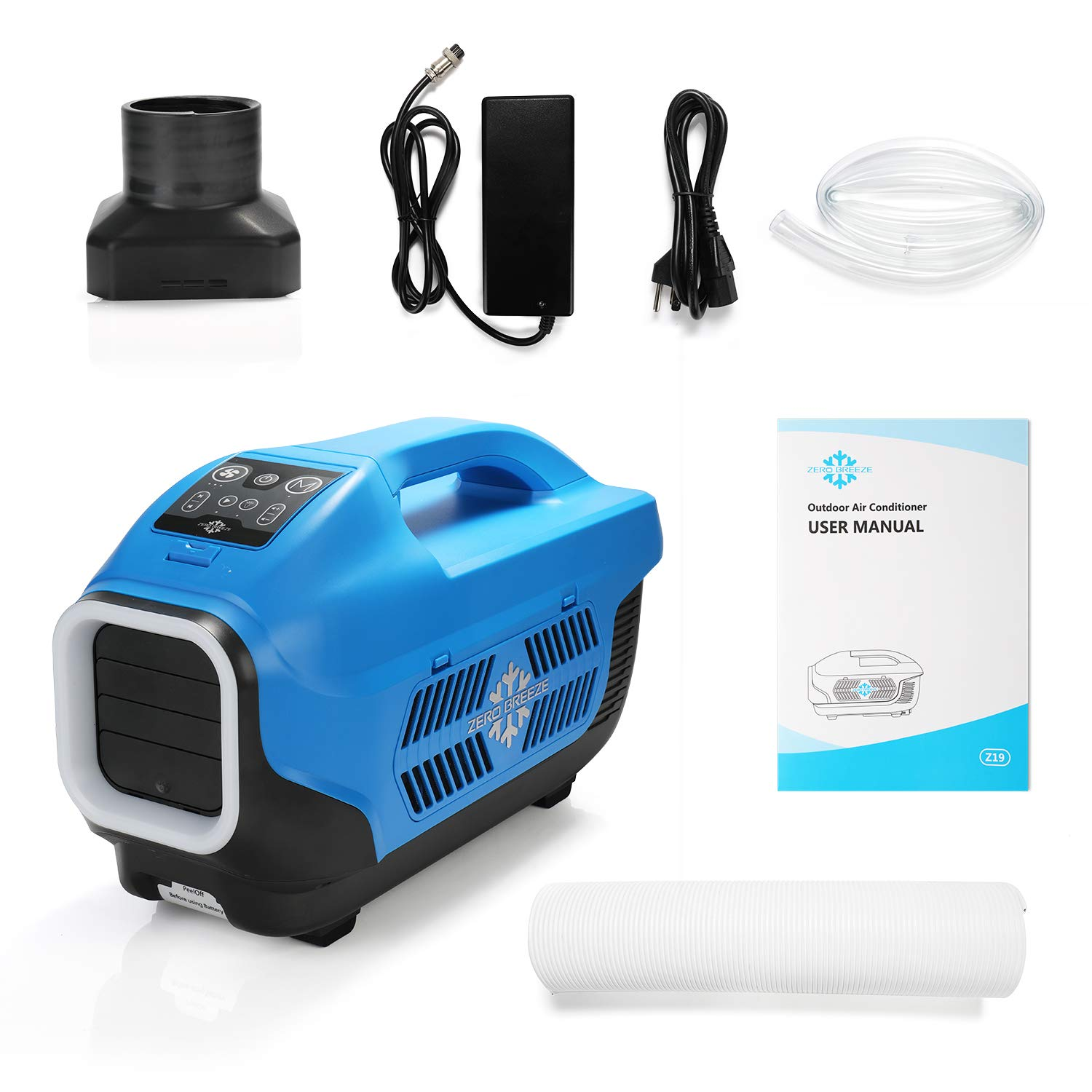 Zero Breeze Z19 Portable Air Conditioner for Outdoors, Micro AC Compressor,  USB Charging and LED Light, for 1-4 Person Camping Tent, RV, Van, Picnic
