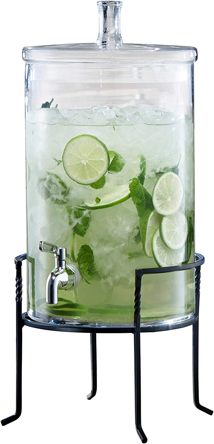 Fifth Avenue 210947-BJ Glass Beverage Drink Dispenser with Metal Stand, 9x19, Clear