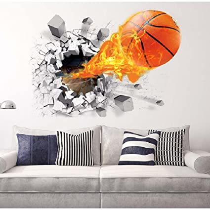 HaloVa 3D Flying Fire Basketball Wall Stickers, Broken Wall, Removable Wall  Arts Decals Murals