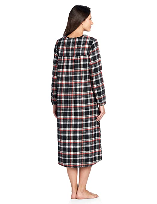 1921df0621 Ashford   Brooks Women s Flannel Plaid Long Sleeve Nightgown Sleepwear at  Amazon Women s Clothing store