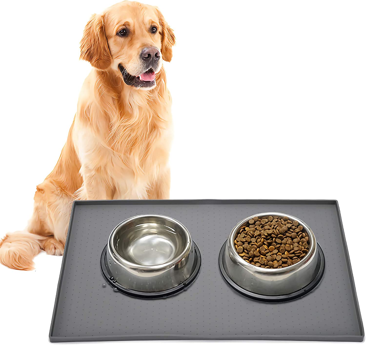 Silicone Dog Food Mat, Pet Bowl Mats with Raised Edges, Puppy Feeding Mat for Floor, Non-Slip Waterproof Dogs Cat Placemat