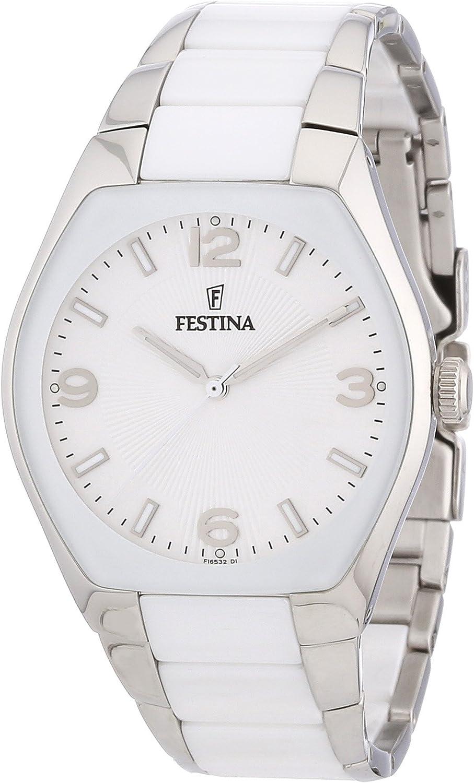 Festina F16532/1 - Reloj analógico de cuarzo unisex con correa de acero inoxidable y cerámica, color multicolor