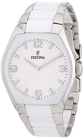 Festina Womens White Ceramic Quartz Watch Bracelet Silver Dial F165321