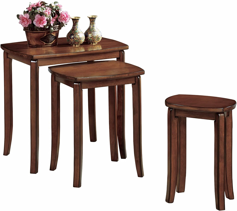 Monarch Specialties 3 Piece Solid Top Nesting Table Set Walnut Amazon Ca Home Kitchen