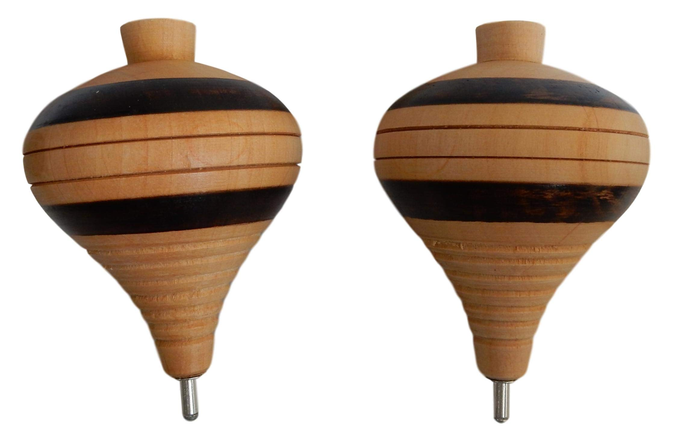 Mexican Trompos - 2 Pack Wooden Spin Tops Metal Tips Made in Mexico Premium Quality (2 Pack)
