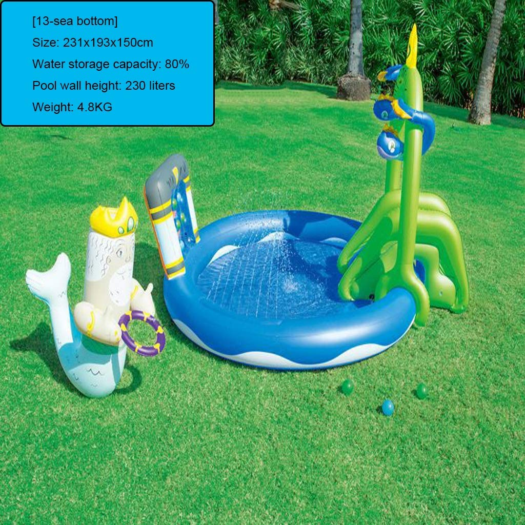 LIJUEZL Aufblasbare Poolwasserrutschen für Kinder, PVC-Blaumbad-Pool Rafts für Baby über 3 Jahre alt Kinderwasserspielzeug C
