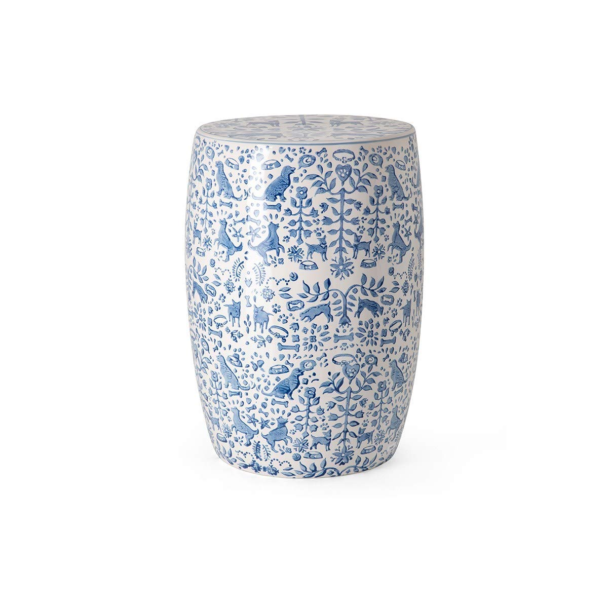 CC Home Furnishings 18'' Blue and White Hand-Painted Textile Patterns Garden Stool