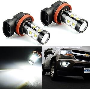 JDM ASTAR Extremely Bright Max 50W High Power H11 LED Fog Light Bulbs, Xenon White