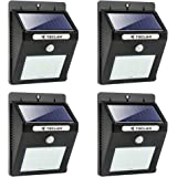 TECLAN Solar Lights, 20 LED Wireless Waterproof Solar Motion Sensor Light, Outdoor Security Night Light for Garden, Yard, Wall, Patio, Deck, Steps (4-Pack)
