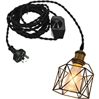 NUNU Lighting Black Basket Hollow Cage Metal Hanging Lighting 15ft Plug in Dimmer Switch Black Twisted Cord with E27…