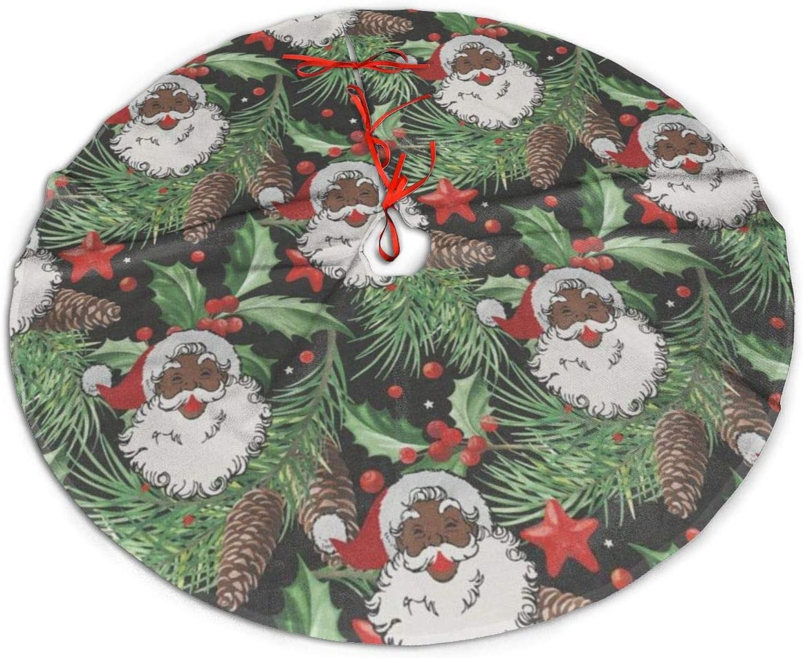 MSGUIDE Santa Claus Tree Christmas Tree Skirt Black Christmas Tree Mat Base Cover Ornament for Xmas Holiday Party Decoration(48 Inch)
