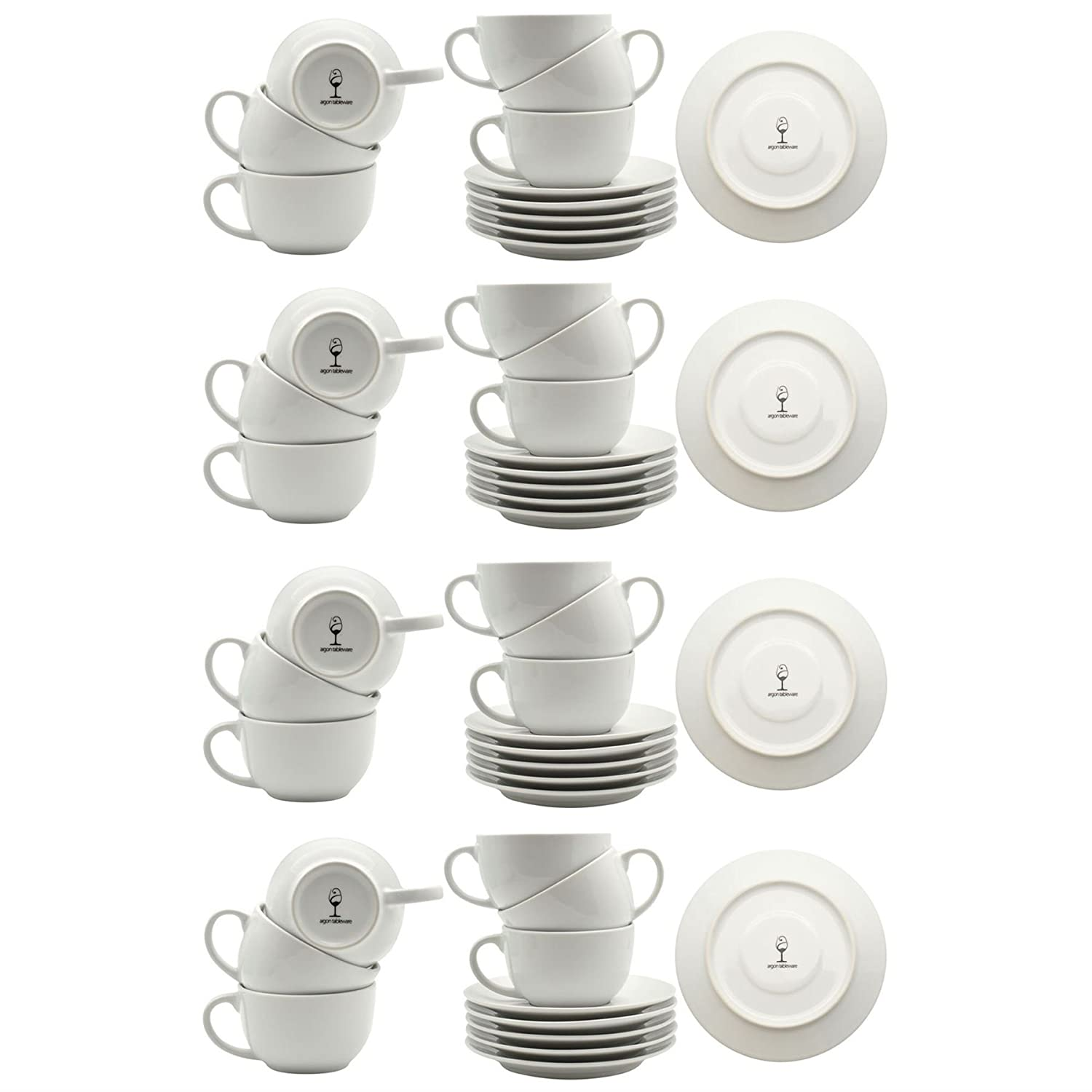 Argon Tableware White Cappuccino Large Coffee Cup/Saucer Set - 320ml (11oz) - Set of 24
