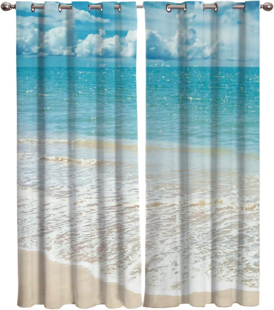 T H Home Tropical Curtains Exotic Beach With Vivid Sky Ocean Island Scenery Window Curtain 2 Panel Curtains For Sliding Glass Door Bedroom Living Room 104 W By 96 L Home