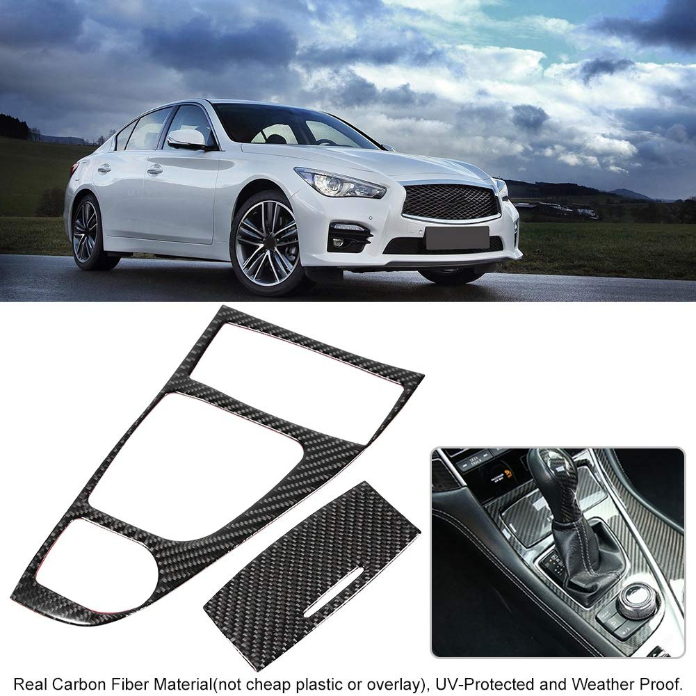 Aramox Gear Shift Panel Cover Trim 2pcs Carbon Fiber Gear Shift Panel Cover Trim Set Fit for Infiniti Q50//Q60 2013-2019