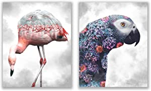 Tropical Landscape Animal Prints - Set of 2 (8x10) Glossy Modern Nature Floral Wall Art Decor - Flamingo - Parrot