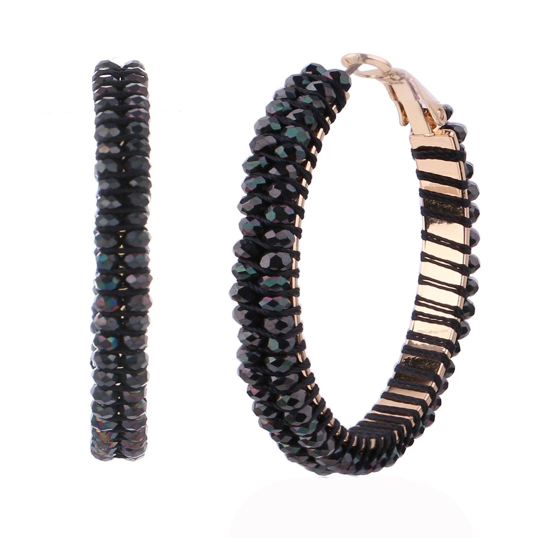 Women Crystal Hoop Earrings Big Round Jewelry Stainless Steel Charming Rings Earrings (Black, copper)