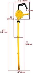 Amarine Made Barrel Pump Plastic Polypropylene Hand Rotary Transfer Drum Pump 300cc(300ml), 70 times/min